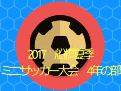 2017年度 船橋夏季ミニサッカー大会4年の部 8/19結果速報!情報提供おねがいいたします!
