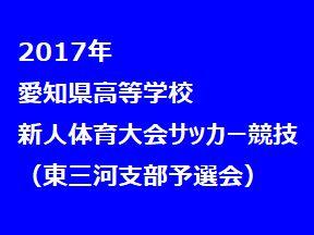 2017年 愛知県高等学校新人体育大会 サッカー競技 東三河支部予選会 1回戦1/13
