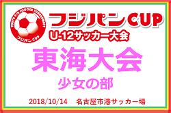 2018 フジパンCUP ユースU-12 サッカー【少女の部】東海大会 三重・静岡代表決定!10/14開催!